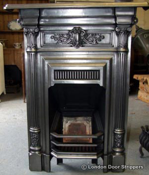 Restored fireplace with fully polished finish