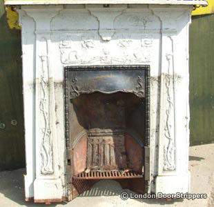 fireplace before restoration